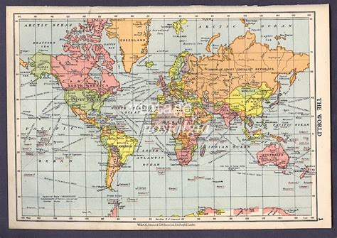 atlas and maps world map 1950s vintage map world atlas map geographical