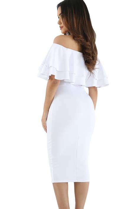 white layered ruffle shoulder midi dress charming wear