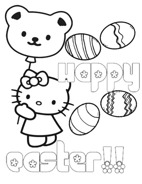 hello kitty bear balloon eggs easter coloring page h m