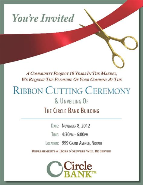 Sle Ribbon Cutting Invitations Circle Bank 999 Grant Ribbon Cutting Your Invitation Opening Ceremony Invitation Card Template