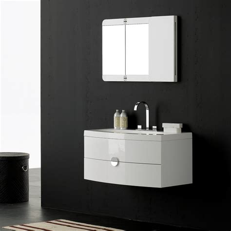 Milano Stone Gloss White Wall Mounted Vanity Unit Bathroom Vanity Units