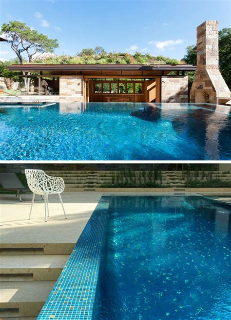 poolhouse  texas  covered   lush green roof