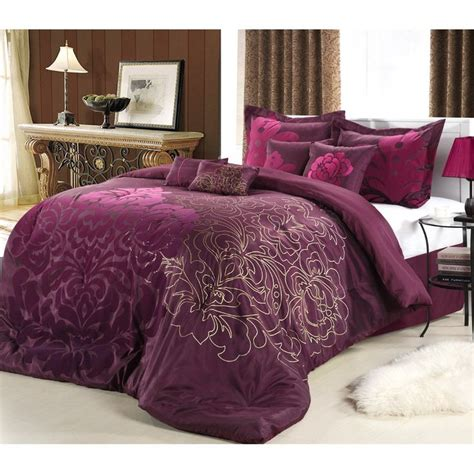 purple and gold comforter lakhani 8 piece plum comforter set