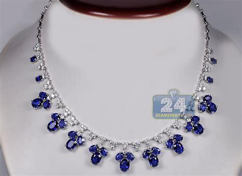 Blue Sapphire 14 30 Ct womens blue sapphire necklace 14k white gold 29 74 ct