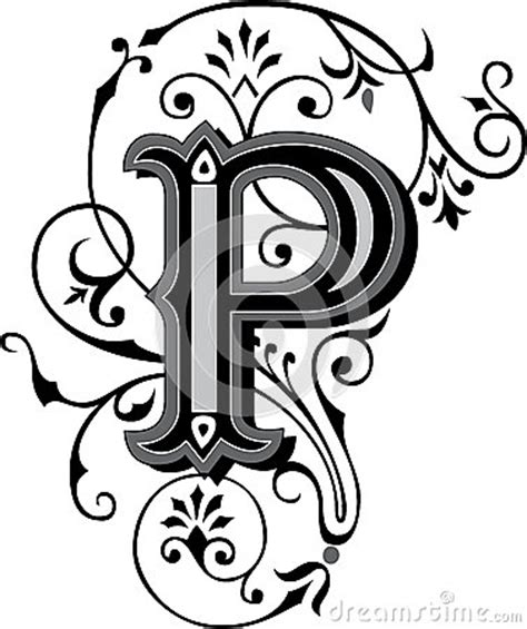 beautiful ornament letter p stock image image 38518161