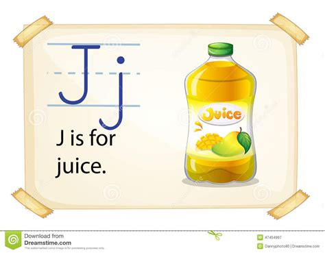 a letter j for juice stock vector image 47454997