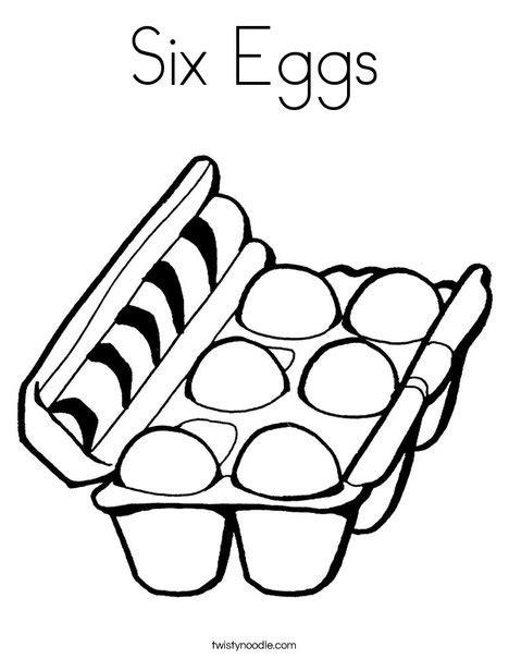 six eggs coloring page twisty noodle