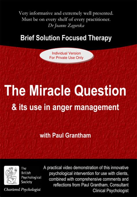The Miracle Questions The Miracle Question Its Use In Anger Management 1 Cpd Hour Psychotherapy Dvds