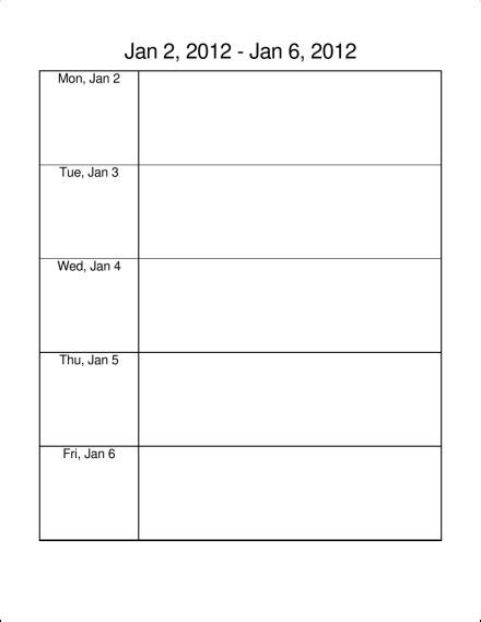 printable monday through friday calendar template