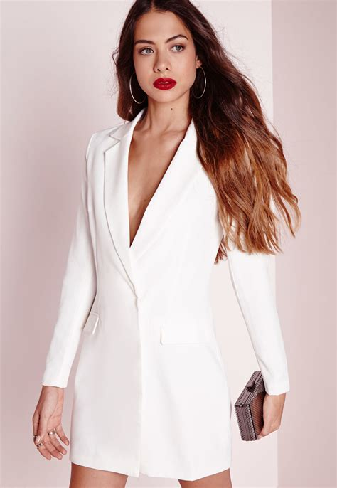 Longsleeve White Brush lyst missguided sleeve blazer dress white in white