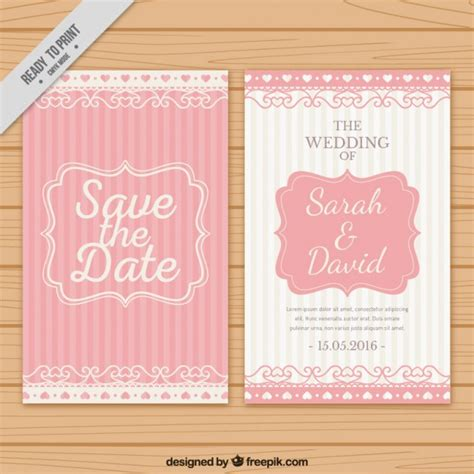 Wedding Invitation Freepik by Wedding Invitation With Pink Stripes Vector Free