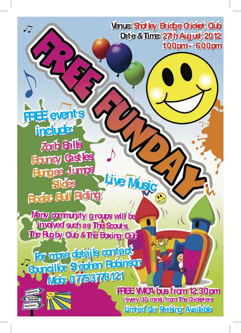 poster design fun day family fun day shotley bridge village trust