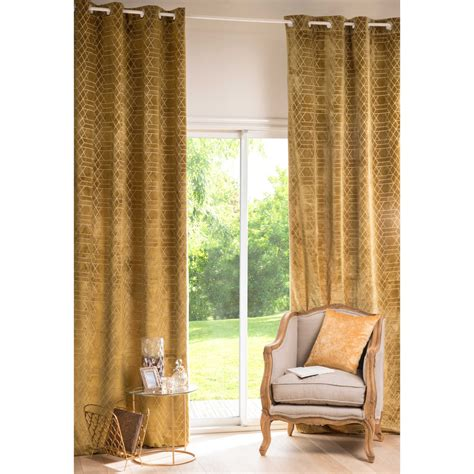 Mustard Colored Curtains Inspiration Zola Graphic Mustard Yellow Eyelet Curtain 130 X 300 Cm Maisons Du Monde