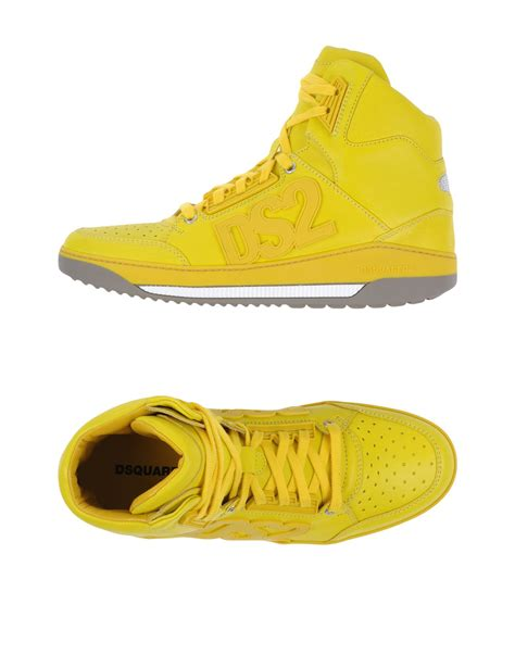 yellow high top sneakers dsquared 178 high tops sneakers in yellow for lyst