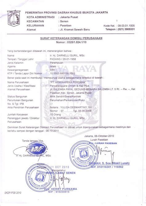 Contoh Suran Izin Karyawan Perusahan by Legalitas Perusahaan Arminareka Perdana Arminareka