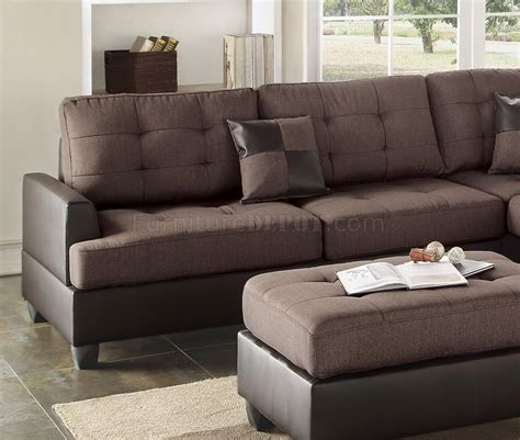 f6857 sectional sofa 3pc in chocolate fabric by