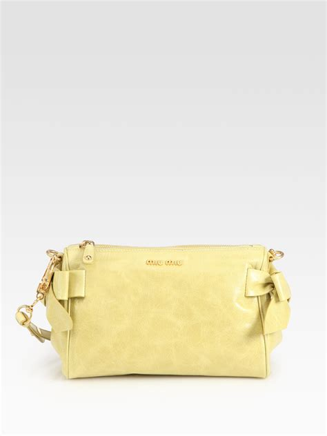 Bundling Bag Mini Ribbon miu miu vitello small bow shoulder bag in yellow lyst