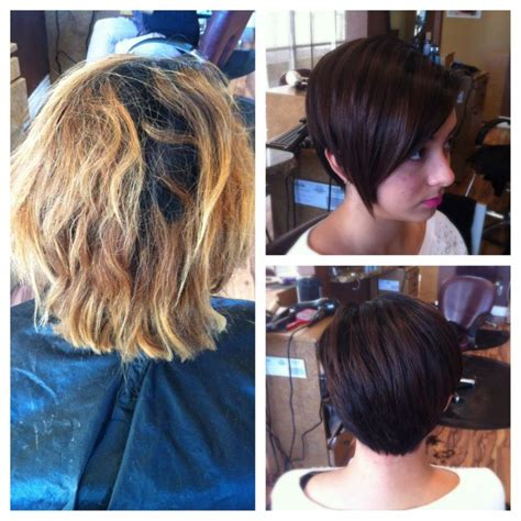 before and after pics of bangs with long hair before after blonde to chocolate brown short pixie long