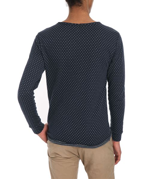 Dots T Shirt knowledge cotton apparel navy layer white dots ls t