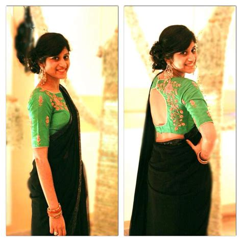 Pita Blouse black saree with green pita work blouse 1 indian