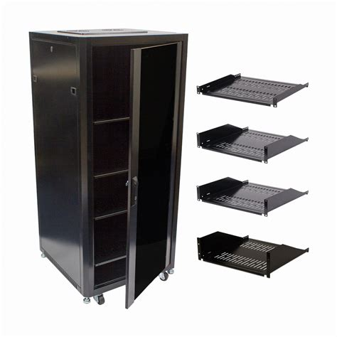 Glass Door Audio Cabinet 27u Steel Rack Audio A V Rack Locking Glass Door Cabinet 600mm Casters