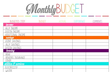 free printable monthly budget template free printable tuesday budget planning worksheets ally