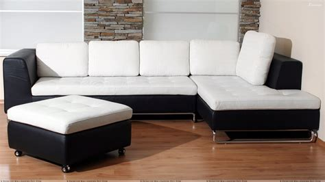 Black And White Sofa Set With Brown Floor Wallpaper