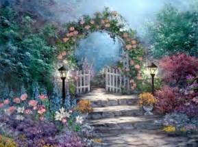 Flower Garden Paintings Painting Of Garden Gate Nature Flowers Drawing Garden Painting Illustration Gate Your Arts