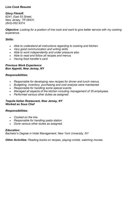 resume exle exle resume line cook cook skills for resume line cook description for