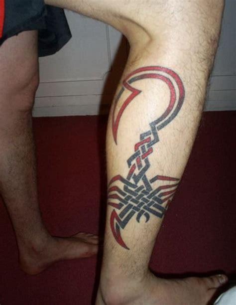 mens leg tribal tattoos mens leg with tribal scorpion leg tattoos for