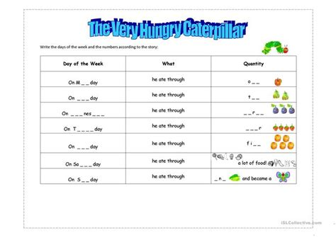 s big week a story about living with noonan books the hungry caterpillar worksheet free esl printable