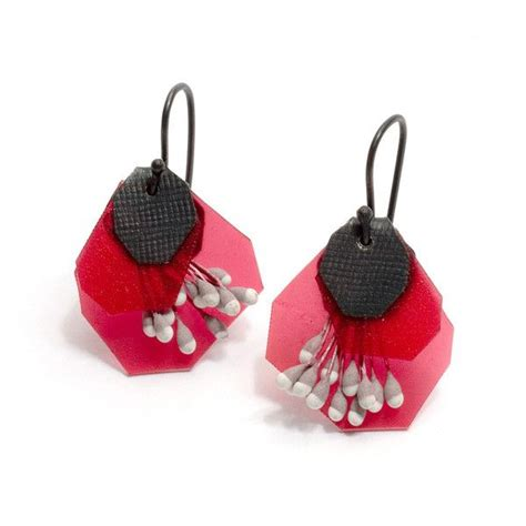 Fujita Pink yuko fujita brightly coloured earrings made from polypropylene paper and oxidised sterling