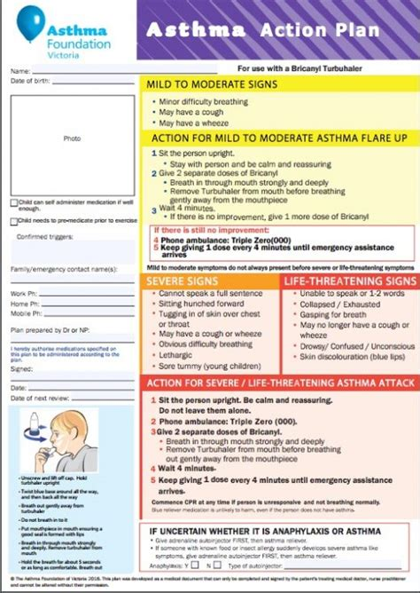 Asthma Action Plan Exles National Asthma Council Australia Asthma Plan Template