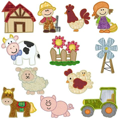 embroidery design cd on the farm machine applique embroidery pattern cd 12