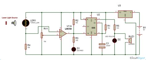 laser security alarm circuit diagram using ic 555 and lm358