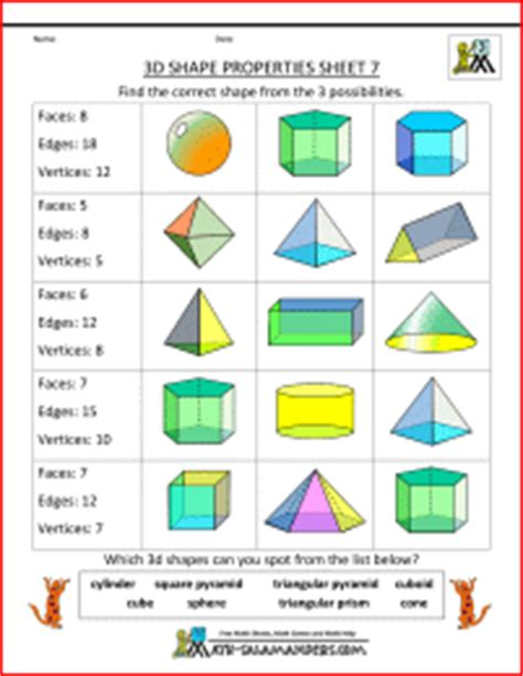 printable math worksheets faces edges and vertices printable 3d shape worksheets properties 7 faces edges