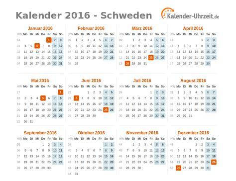 Kalender 2016 Feiertage Feiertage 2016 Schweden Kalender 220 Bersicht