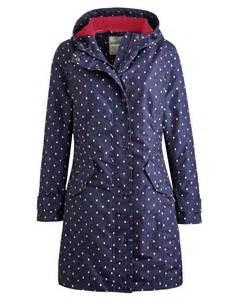 Navy spot windermere womens waterproof jacket size 14 joules uk