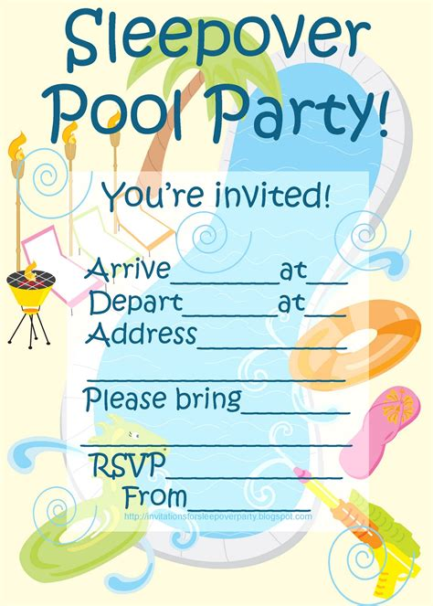 printable invitations pool party invitations for sleepover party sleepover pool party