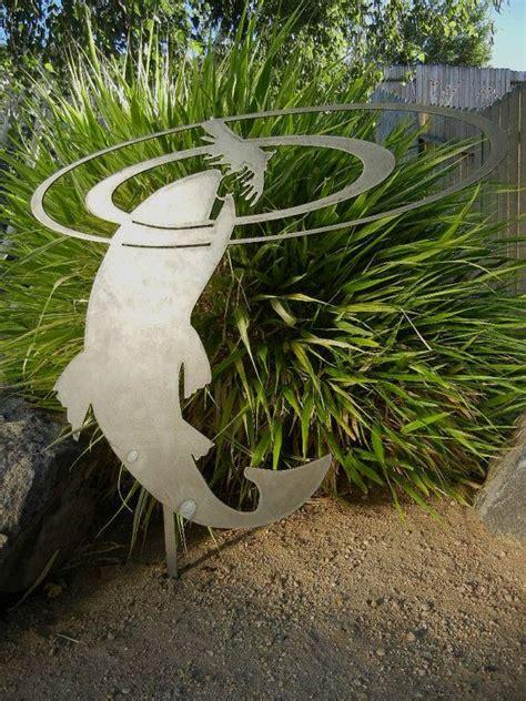 rising fish metal garden stake
