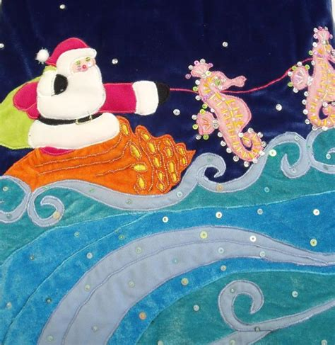 tropical santa w seahorses velvet christmas tree skirt ebay