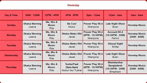 radio program schedule template dhaka fm 90 4 program schedule bd show time
