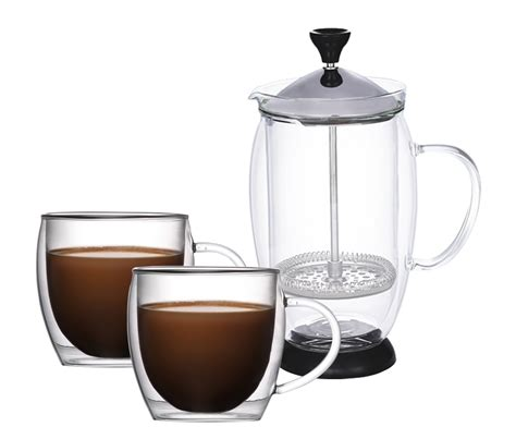 Coffee Set la gourmet set of 3 borosilicate glass coffee set