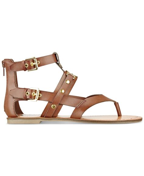 guess gladiator sandals g by guess hartin flat gladiator sandals in brown luggage