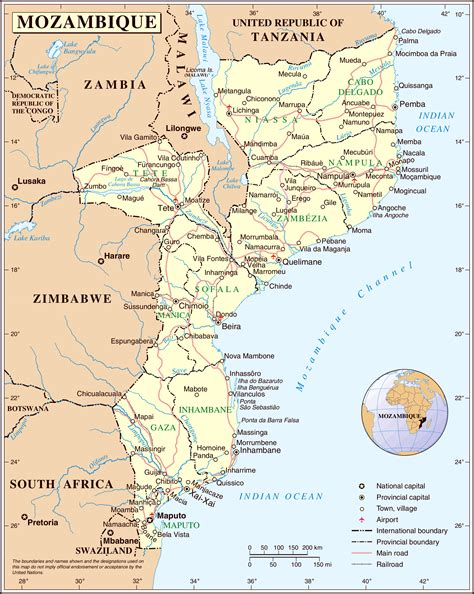 political map of mozambique large detailed political and administrative map of