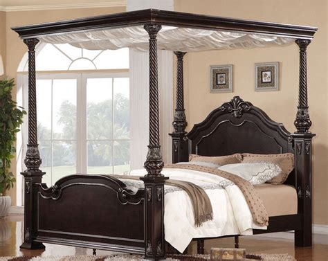 Wood Canopy Bed Frame King Quality Wooden Canopy Bed Frame King Wood Furniture Antique New Ebay