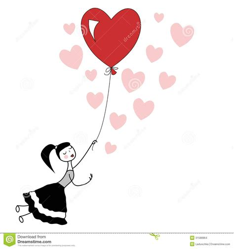 Flying red heart balloon stock vector illustration of closed 31588864
