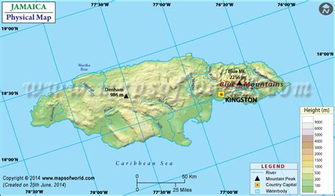 physical map of jamaica physical map of jamaica