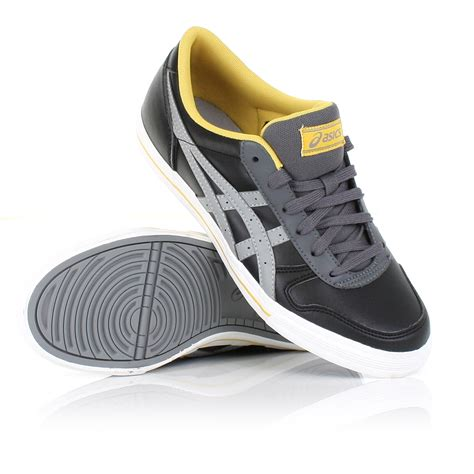 mens asics aaron black grey shoes casual trainers sneakers