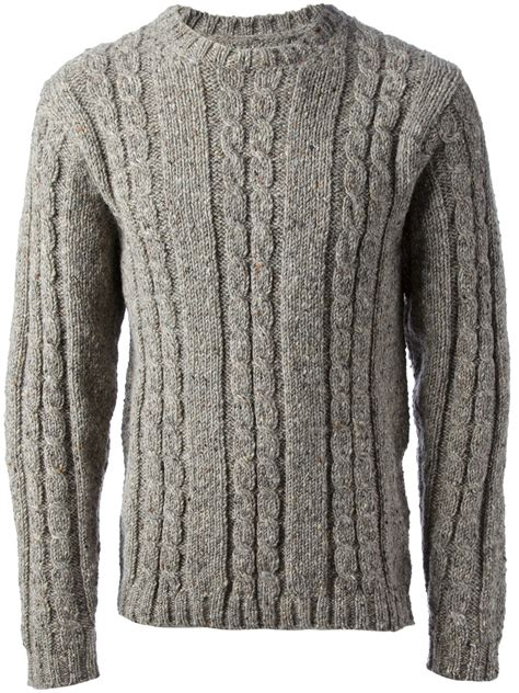 gray knit sweater mr start cable knit sweater in gray for grey lyst